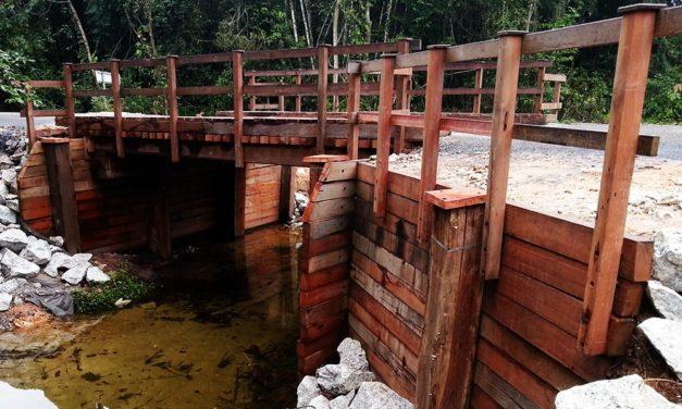 Réalisation d'un pont en bois secteur de Wayabo
